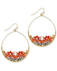 Inc International Concepts Gold Tone Wire Wrapped Bead Cluster Gypsy Hoop Earrings Only At Macy's