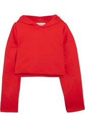 Golden Goose Deluxe Brand Cropped Cotton Jersey Hooded Sweatshirt Red