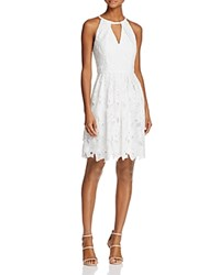 Adrianna Papell Lace Cutout Halter Dress White