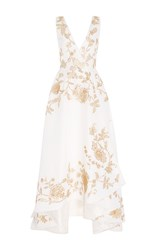 Oscar De La Renta Sleeveless V Neck Lame High Low Gown White