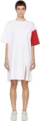 Sjyp White And Red California Club T Shirt Dress