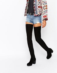 Glamorous Thigh High Black Chunky Heeled Over The Knee Boots Black Microfibre