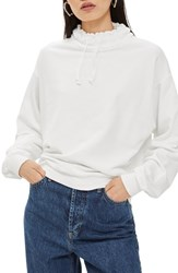 Topshop Cord Funnel Neck Sweatshirt White