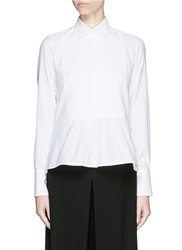 Valentino Bib Peplum Cotton Dress Shirt White