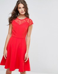 Paper Dolls Lace Detail Fluted Swing Dress Tomato Red