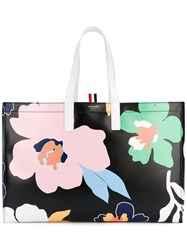 Thom Browne Floral Tote Bag Women Calf Leather One Size Black