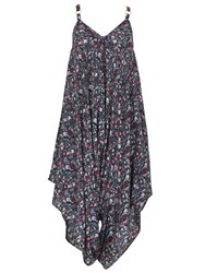 Izabel London Floral Print Oversized Culottes Jumpsuit Navy