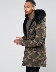 Sixth June Parka With Faux Fur Hood Camo Green