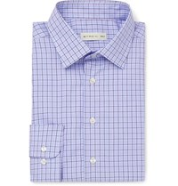 Etro Blue Slim Fit Checked Cotton Poplin Shirt Blue