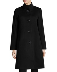 Fleurette Stand Collar Long Wool Coat Black