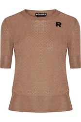 Rochas Pointelle Knit Wool Sweater Tan