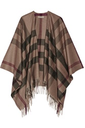 Burberry Checked Cashmere And Wool Blend Cape