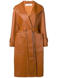 Pringle Of Scotland Leather Trench Coat Brown