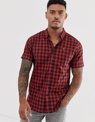 Voi Jeans Short Sleeved Checked Shirt Red