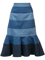 Carolina Herrera Striped Denim Trumpet Skirt Blue