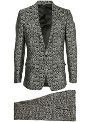 Dolce And Gabbana Floral Jacquard Evening Suit Black