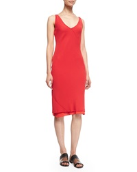 Edun Bias Cut Layered Slip Dress Bright Red