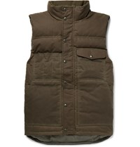 Filson Water Resistant Cotton Canvas Down Gilet Green