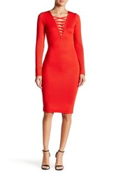 Wow Couture Crisscross V Neck Bandage Dress Red