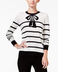 Maison Jules Striped Bow Print Sweater Only At Macy's Egret Combo