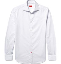 Isaia Slim Fit Pin Dot Textured Cotton Poplin Shirt White