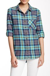 Candc California Kendall Plaid Long Sleeve Hi Lo Shirt Multi