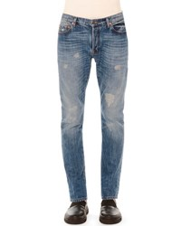 Valentino Distressed Slim Fit Denim Jeans Blue