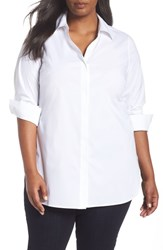 Foxcroft Plus Size Vera Solid Tunic White
