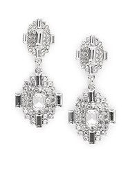 Cara Deco Post Back Drop Earrings Crystal