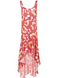 Onia Martine Hibiscus Print Silk Dress Red