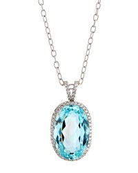 Diana M. Jewels 18K White Gold Oval Aquamarine And Diamond Pendant Necklace 2.57Tcw