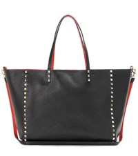 Valentino Rockstud Reversible Leather Shopper Black