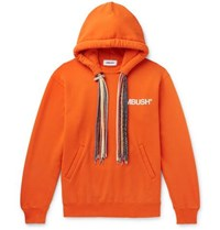 Ambush Logo Print Loopback Cotton Jersey Hoodie Orange