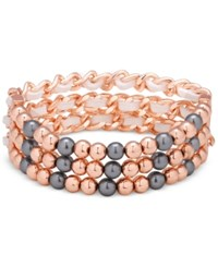 Guess Rose Gold Tone Imitation Pearl Stretch Bracelet