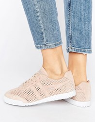 Gola Harrier Blush Pink Perforated Suede Trainers Pink