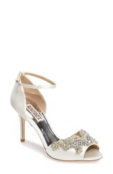 Badgley Mischka Women's Barker Ankle Strap D'orsay Pump White Satin