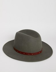 Asos Fedora In Charcoal With Belt Trim Charcoal Grey