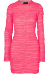 House Of Holland Ruched Tulle And Stretch Cotton Jersey Mini Dress Fuchsia
