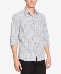 Kenneth Cole New York Men's Grid Pattern Button Down Shirt Dark Gray