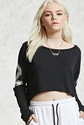 Forever 21 Graphic 23 Crop Top Black White