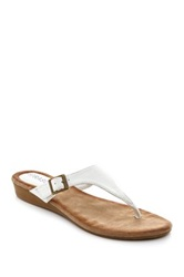 Godiva Buckle Thong Wedge Sandal White