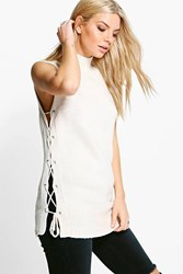 Boohoo Eyelet Lace Up Knit Tunic Ecru