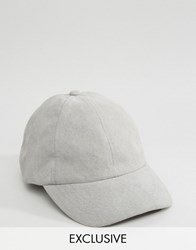 Reclaimed Vintage Baseball Cap In Faux Suede Grey Beige