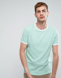 Asos T Shirt In Textured Waffle Fabric In Mint Yucca Green
