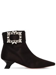 Roger Vivier 45Mm Trianon Crystal Buckle Satin Boots Black