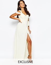 Forever Unique Sweetheart Maxi Dress With Cold Shoulder Cream