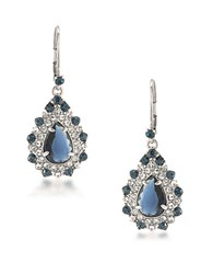 Carolee Silvertone Brass Statement Drop Pierced Earrings Blue