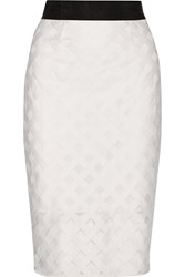 Milly Embroidered Mesh Pencil Skirt White