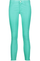 J Brand Cropped Stretch Leather Skinny Pants Turquoise