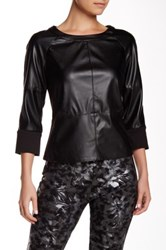Insight Ponte And Faux Leather Top Black